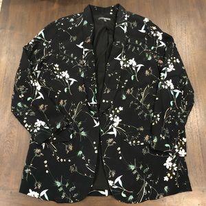 Matty m black floral blazer size large w pockets